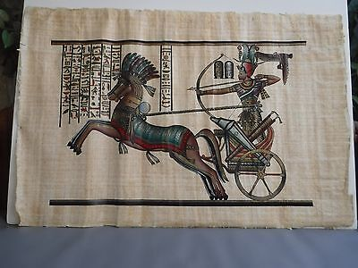 Egypt Papyrus Painting Horse Chariot