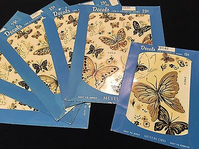 Vintage  MEYERCORD BLACK GOLD  BUTTERFLIES DECALS SHEETS Transfers X-314 B+C