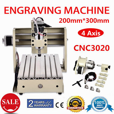 4 AXIS PCB CNC 3020 Router Wood Milling Drilling Engraving Cutter Machine USB