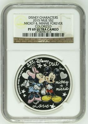 Disney Mickey and Minnie Forever Colorized PF69 Ultra Cameo Silver Coin 1oz