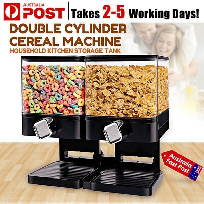 Double Cereal Dispenser Dry Food Grains Storage Container Tank Dispense Machine