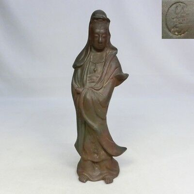 D163: Japanese BIZEN pottery Goddess of Mercy statue with appropriate work