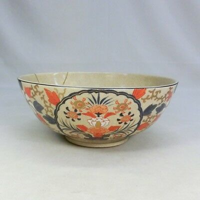 B898: Japanese old SATSUMA pottery ware bowl with good flower painting.