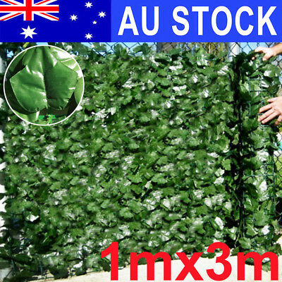 3m Long x 1m Wide Artificial Fake Ivy Leaf Roll Dense Fence Green Garden Hedge