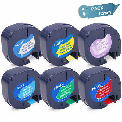 6PK Combo Pack DYMO Letratag 16952 91335 Plastic Tapes 12mm for DYMO Label Maker