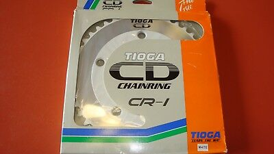 Tioga CD chainring CR-1 44 tooth old school bmx vintage 80's NOS white