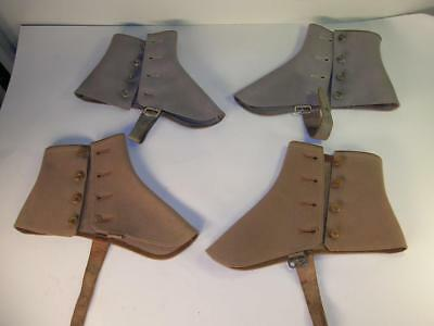 2 prs Antique VTG Men's Wool Felt SPATS Tan and Taupe Color Side Buttons
