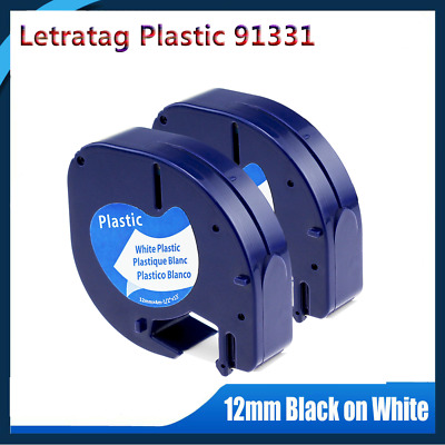 Compatible DYMO Letratag 91331 Black on White Plastic Tape 12mm Label Maker 2PK