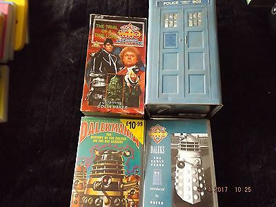 DOCTOR WHO DR WHO BBC 30th Anniversary POLICE TIN BOX SET VIDEOS & DALEKS VIDEOS