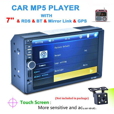 Autoradio 7'' 2DIN Bluetooth GPS Navi Touch Screen Stereo MP5 Player SD + Camera