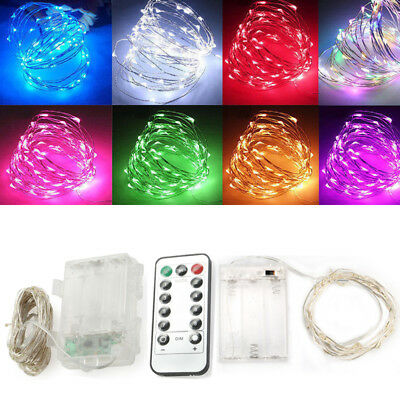 2-10M Christmas Light Battery Copper Silver Wire Fairy String Light Indoor Decor