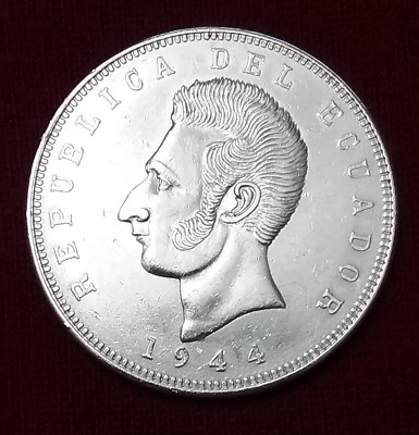 $AUCTION$ Silver Coin 5 Sucres Ecuador 1944 XF Dollar 25g Best Offer KM#79