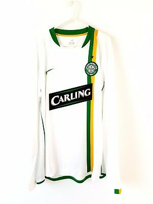 Celtic Away Shirt 2006. XL. Nike White Adults Long Sleeves Top Only Football