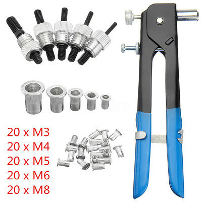 106 Pcs Threaded Nut Riveter Rivet Gun Rivnut Insert Tool Rivets M3 M4 M5 M6 M8