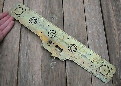 Large Antique Decorative Brass Finger Push Plate with Keyhole