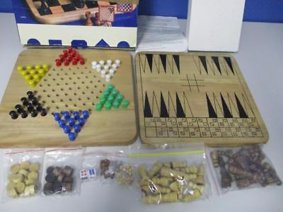 Vintage 8 Timber GAMES SET Mancala Backgammon Chess Checkers Complete in box