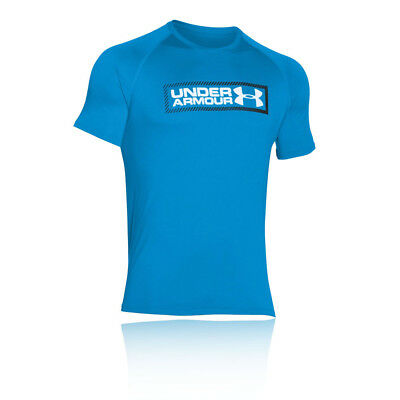 Under Armour Mens UA Tech Double Up T Shirt Tee Top Blue Sports Gym Breathable