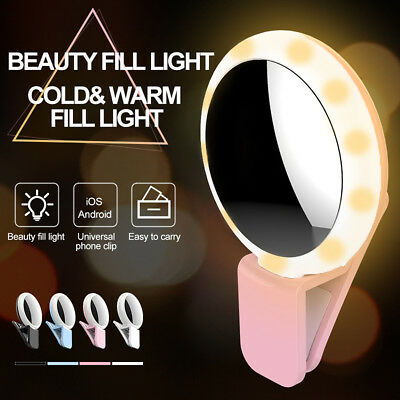 Selfie Portable LED Ring Fill Light Camera With Makeup Mirror For iPhone Android