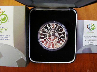 """2006 $1 Silver Proof Coin: """"FIFA Soccer World Cup - Germany."""""""