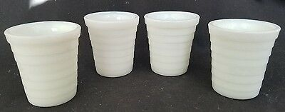 4 Vtg Crow Marked Akro Agate Moderntone Style Milk Glass Shots / Toy Tumblers