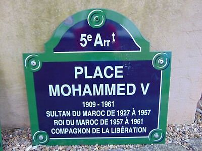 AUTHENTIC FRENCH METAL PARIS STREET SIGN PLACE MOHAMMED V 5e Arrt w/ POST MOUNTS