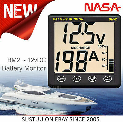 NASA Marine BM2 Battery Monitor- 12VDC with 5m Cable│Visual Alarm│Volt/Amp/State