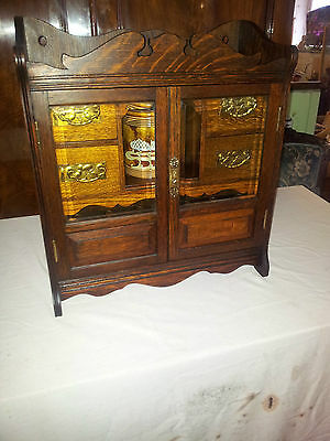 Antique English Oak Smokers Cabinet with Glazed Doors