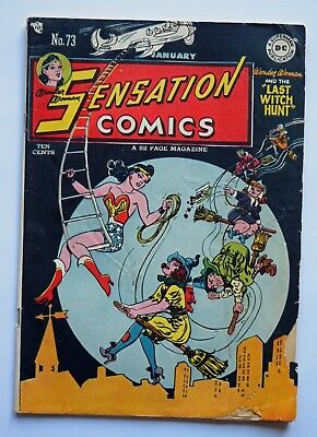 "1948 Sensation Comics # 73 Vintage Wonder Woman ""The Last Witch Hunt"" 40's Movie"