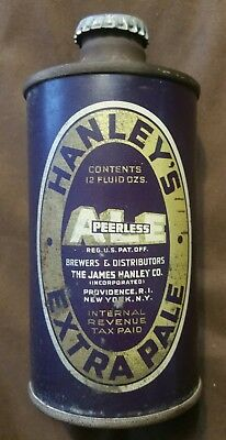 Superb Scarce Vintage 1930's Irtp Hanley's Peerless Ale 12 Oz. Cone Top Beer Can