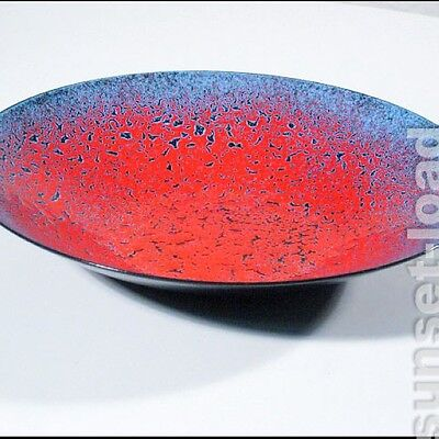 rot / blaue Emaille Schale 50s 60s made in germany, alte vintage Emaille Schale