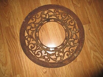 Antique Victorian Cast Iron Heat Register Grate Round