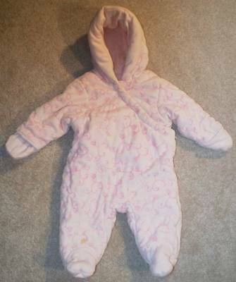 BABY GIRL EMBROIDERED VELOUR SNOWSUIT FIRST IMPRESSIONS 3-6 mos