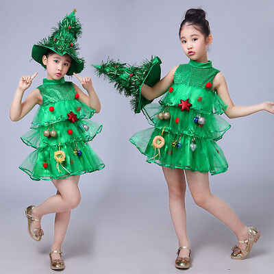 Toddler Kids Baby Girls Christmas Tree Costume Dress Tops Party Vest+Hat Outfits