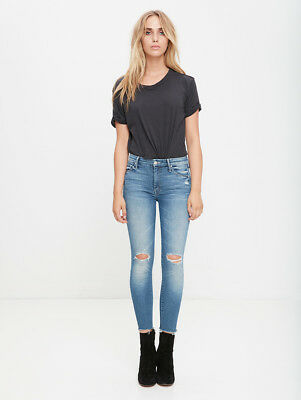6e8ac6fe46c6 Mother Denim High Waisted Looker Ankle Fray Jeans In Furiously Happy W24 Uk  6