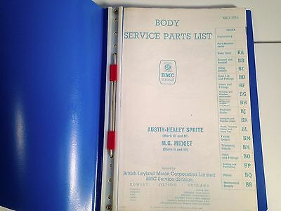 MG Midget and Austin Healey  Sprite Body Service Parts List - Good Condition
