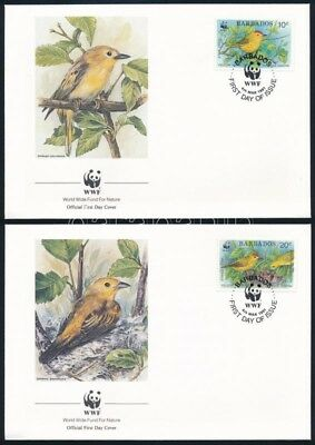 Barbados stamp WWF Birds set on 4 FDC Cover 1991 Mi 770-773 WS246634