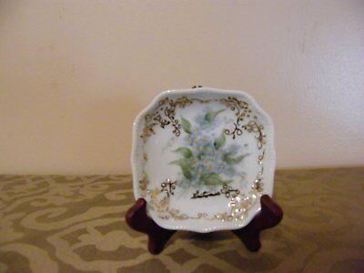 """R Breitwieser Hand Painted Display Plate ~ 4 1/4"""" Square Scalloped ~ Gold/Blue"""