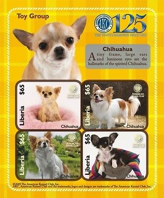 Liberia- Dogs of The American Kennel Club-Toy Group Chihuahua Sheet of 4 MNH
