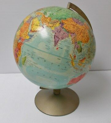 REPLOGLE Stereo Relief GLOBE Raised Terrain Metal Base Steamship Routes 12 in.