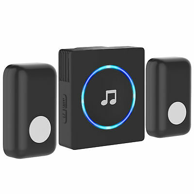 Portable Wireless DoorBell Chime Plug-in Push Button (Black)