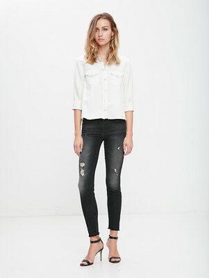 287cb0c5b0bd Mother Looker Ankle Snippet Jeans In Between And Rock And A Hard Place W24  Uk 6