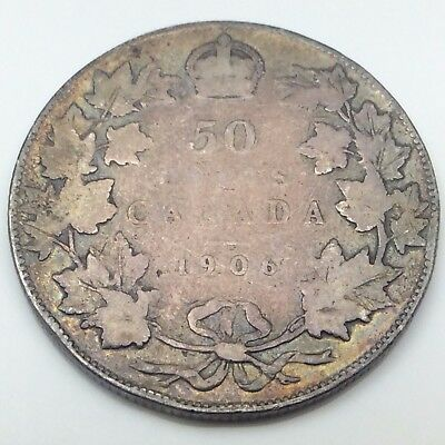 1906 Canada Fifty 50 Cents Silver Half Dollar Canadian Coin C152