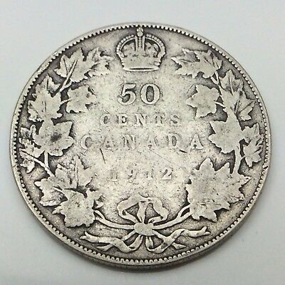 1912 Canada Fifty 50 Cent Silver Half Dollar Canadian Coin C154
