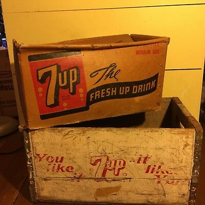 """Antique 7Up """"you Like..it Likes You"""" Wood Crate & Rare Cardboard Box Crate"""