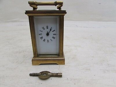Antique Miniature French Brass Carriage Clock Requires Hour Hand/Balance Spring