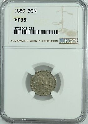 1880 Three Cent Nickel! Ngc Vf35! 3Cn! Us Coin Lot #7699
