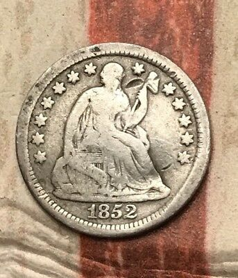 1852-O 5C Seated Liberty Half Dime 90% Silver US Coin #MP97 Rare Key Date