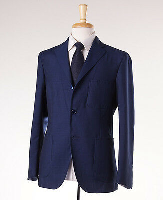 NWT $1995 BELVEST Navy Blue Lightweight Cotton-Wool Blazer 46 R Sport Coat
