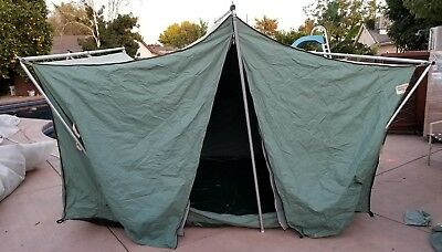 Vintage Canvas Diamond Brand Tent Canopy w/Poles Shelter & COLEMAN VINTAGE 14x10 Two Room Tent W/ Awning / Strong Aluminum ...