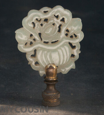 Antique Chinese Carved Jadeite / Jade Lamp Finial, Basket of Flowers, No Reserve